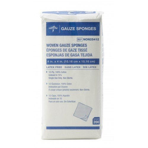 MedLine 4 x 4 Inch Woven Gauze Sponges 12 Ply - NON25412