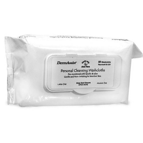 DermAssist Washcloths Pre-Moistened with Lanolin & Aloe