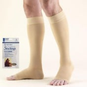 Knee High Compression Stocking with Silicone Dot Top Open Toe 20-30 mmHg