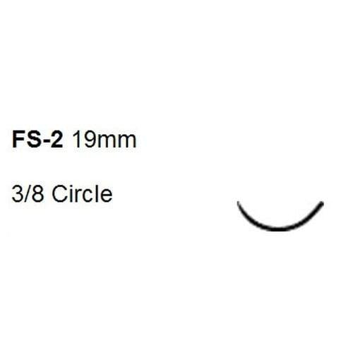 Suture with Needle Ethilon Nonabsorbable Black Monofilament Nylon Size