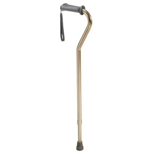 Offset Handle Cane with Rehab Ortho K Grip and Wrist Strap Aluminum