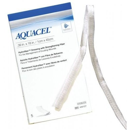 Aquacel Hydrofiber Wound Dressing Ribbon with Strengthening Fiber, .39 x 18 Inch