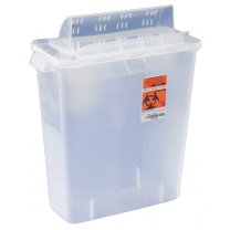 2 Gallon Clear SharpSafety Sharps Container with Always Open Lid 85321
