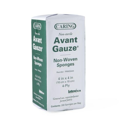 Caring PRM25444 Avant Gauze Non-Woven Sponges 4 x 4 in. 4 Ply - Medline