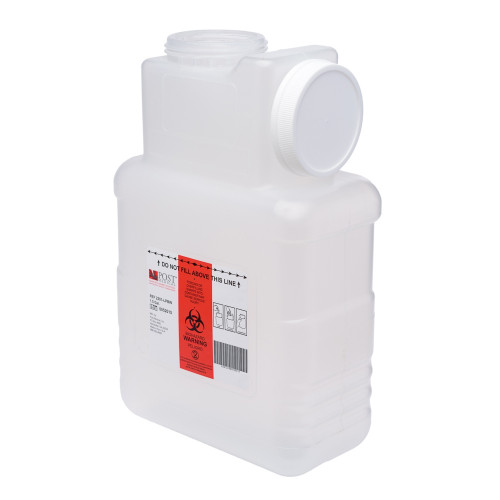 1.5 Gallon Clear Sharps Container with Locking Screw Cap 2201-LPBW