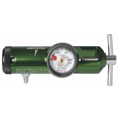 Medline HCS8725M Mini Oxygen Regulator, Latex Free, 0-25 Liters per Minute, 870 CGA Connection, Brass Sleeve