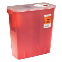 3 Gallon Red Sharps Container with Hinged Rotor Lid 8527R
