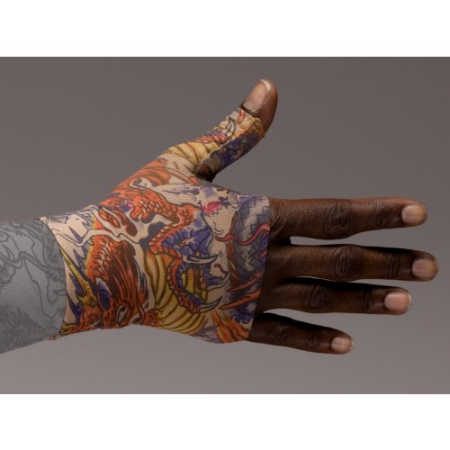 LympheDivas Lotus Dragon Tattoo Compression Gauntlet 30-40 mmHg