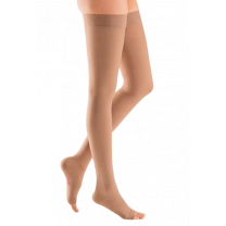 Mediven Plus Thigh High Compression Stockings OPEN TOE w/ Silicone Top Band 40-50 mmHg Petite