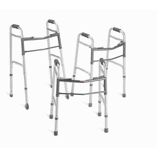 """Medline Two-Button Folding Walker with 5"""" Wheels, For Users 4'6"""" to 5'5"""""""