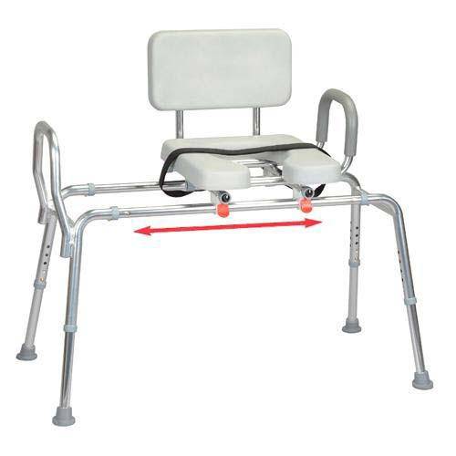 Sliding Transfer Bench with Padded Cut-Out Seat and Handles