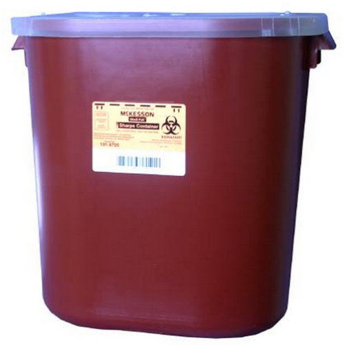 8 Gallon Red Medi-Pak Sharps Disposal Container with Horizontal Entry Lid 101-8705