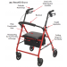 Drive Medical Competitive Edge Steel Rollator Features