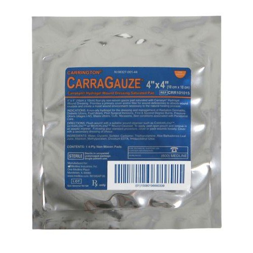 CarraGauze Carrasyn Hydrogel Wound Dressing Saturated Pad