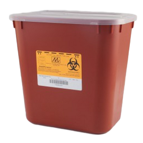 2 Gallon Red Stackable Sharps Container with Biohazard Symbol 8704