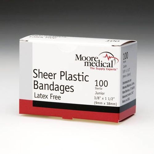 Sheer Plastic Bandages, Latex-Free