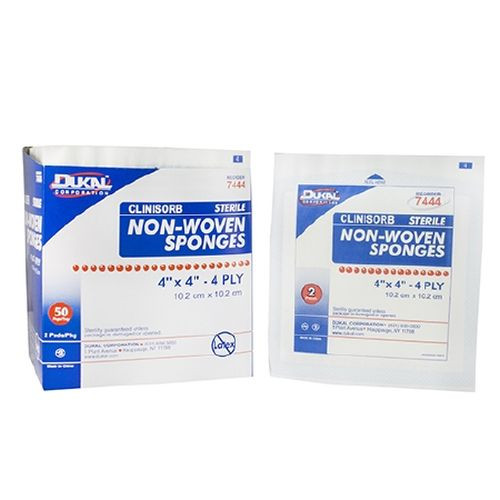 Dukal 7444 Clinisorb Non-Woven 4 x 4 Inch Sponges 4 Ply, Sterile