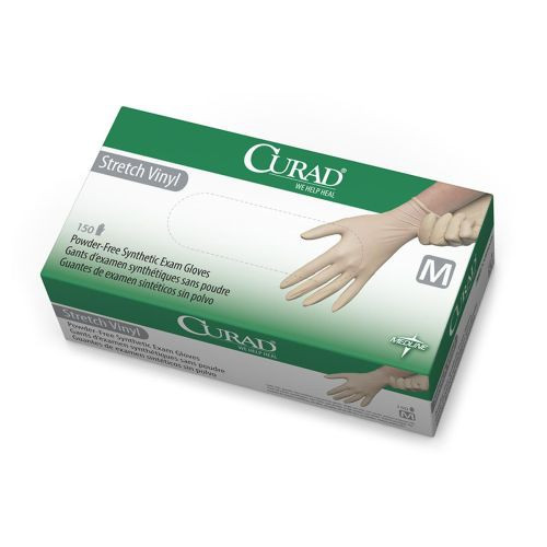 CURAD Stretch Vinyl Exam Gloves, Latex Free
