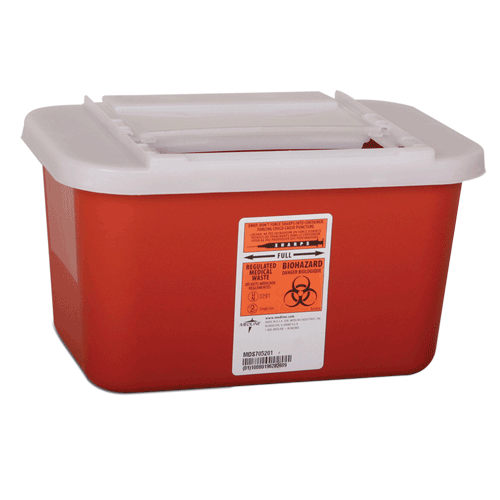 1 Gallon Red Nestable Sharps Container with Horizontal Drop Opening Lid MDS705201H
