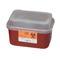 1 Gallon Transparent Red Stackable Sharps Container with Tortuous Path Lid 8706T