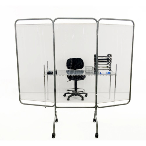 R&B Wire Antimicrobial Mobile 3-Panel Clear Room Barrier