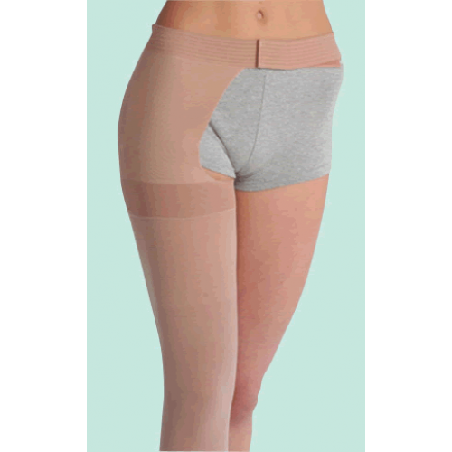Juzo Soft 2002 Thigh High Compression Stockings w/ Hip Attachment OPEN TOE 30-40 mmHg