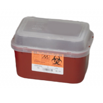 2 Gallon Transparent Red Stackable Sharps Container with Biohazard Symbol 8704T