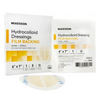 McKesson Hydrocolloid Dressing with Film Backing 6 x 7 Inch - Sterile
