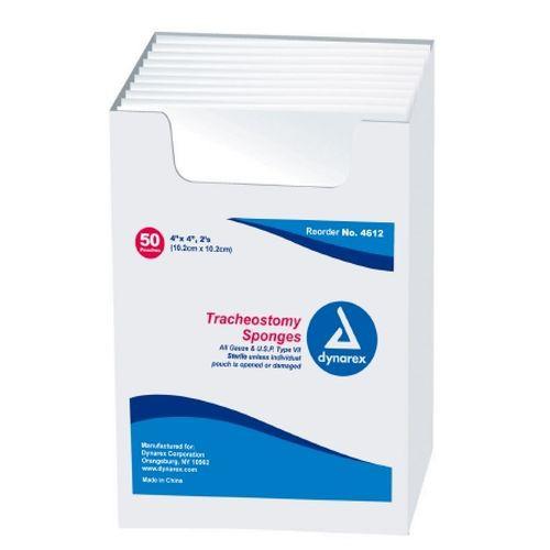 Dynarex 4612 Tracheostomy Sponges 4 x 4, 12 Ply - Sterile