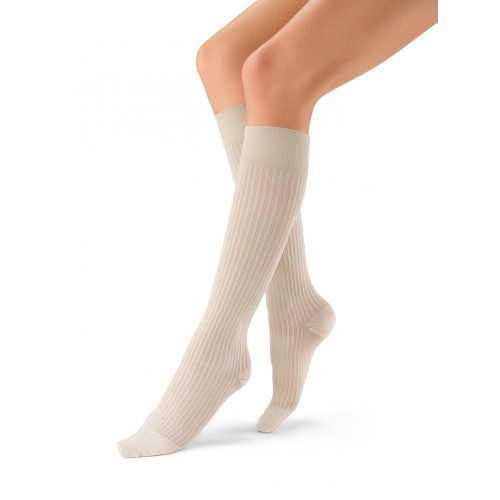 Jobst soSoft Women's Ribbed Pattern Knee High Compression Socks CLOSED TOE 30-40 mmHg