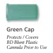 Green Cap for Blunt Plastic Cannula