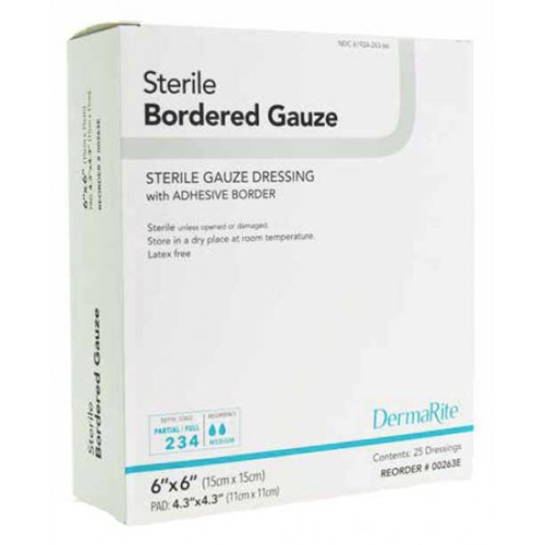 DermaRite Bordered Gauze Sterile Dressing