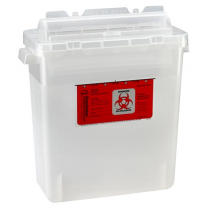 3 Gallon Transparent Beige Sharps Container with Rotating Cylinder Opening 333-020