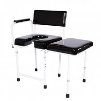 with Ensolite Seat, Padded Arm, Padded Back, Sidearm and B-O Transfer Bench with Cane Tips