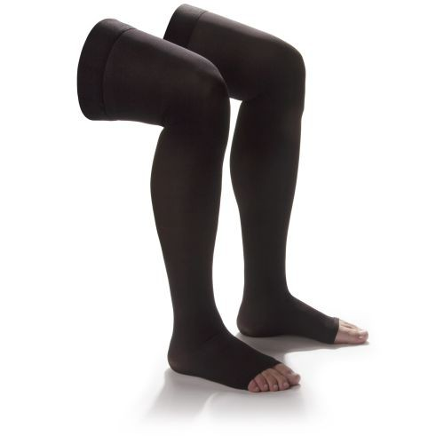 Shape To Fit Unisex Sheer Open Toe Thigh High Hosiery 20-30 mmHg