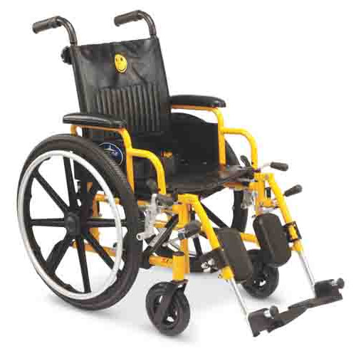 "Medline Pediatric Wheelchair, 14"" Wide Seat, Swing-Bag Desk-Length Arms, Elevating Legrests, Yellow Frame"