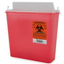 5 Quart Red Prevent Sharps Disposal Container with Horizontal Entry Lid 2262