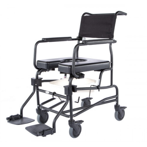 Black Frame with Front/Rear Open Seat, Casters, Foot Rest/Plates & Solid Back