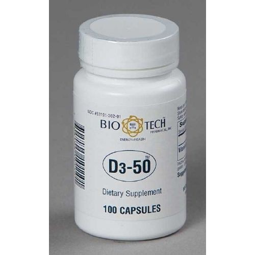 Bio Tech 50000 Vitamin D Supplement 100 per Bottle