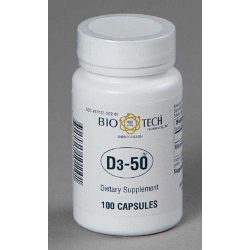 Bio Tech 50000 Vitamin D Supplement 100 per Bottle
