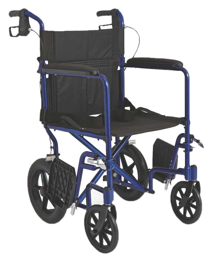 medline lightweight transport adult folding wheelchair with 12 wheels 46a