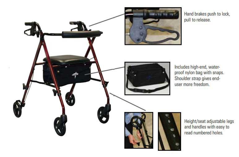 medline ultralight freedom rollator 284