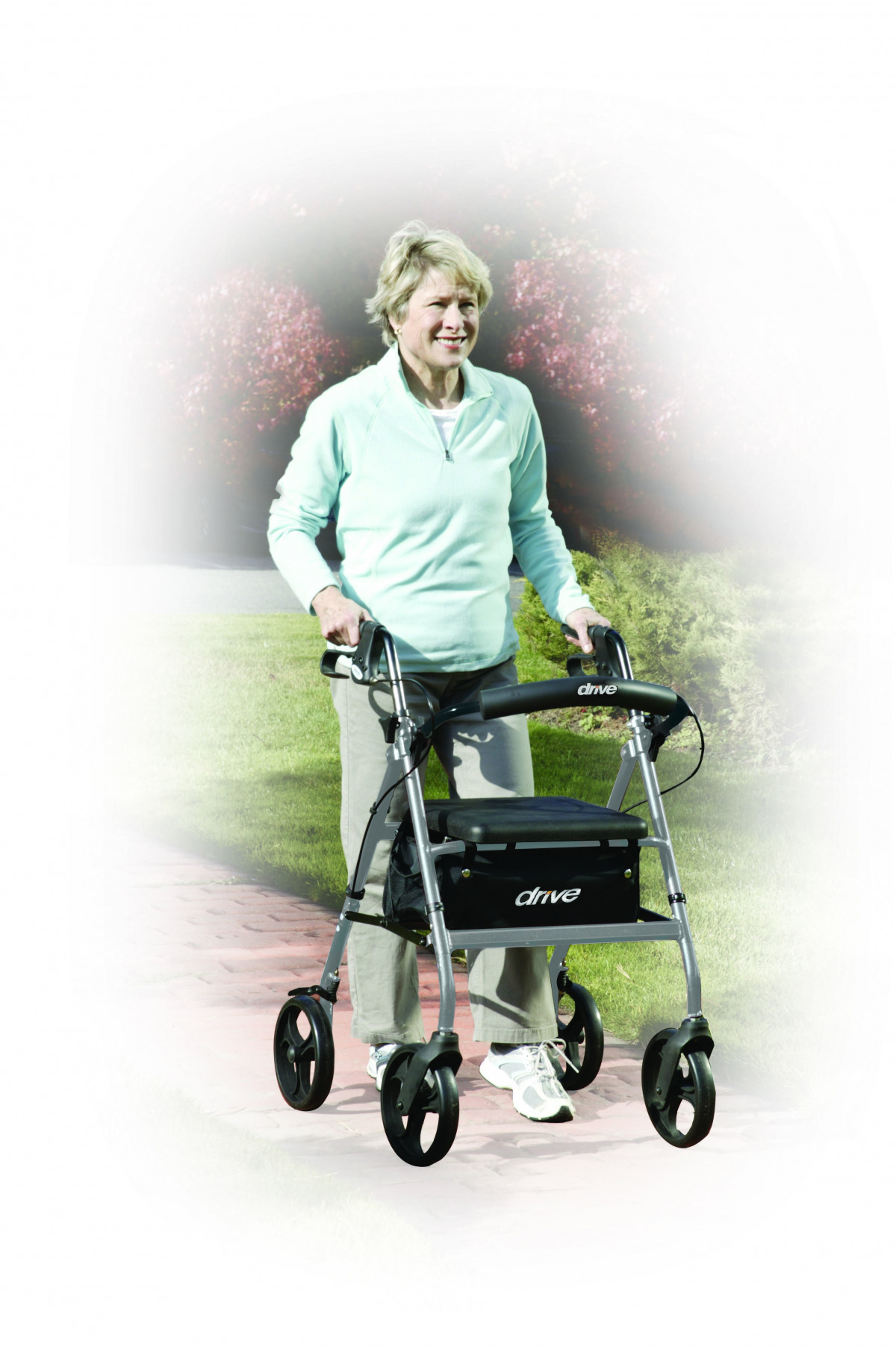 lightweight rollator with fold up and removable back support by drive 58f