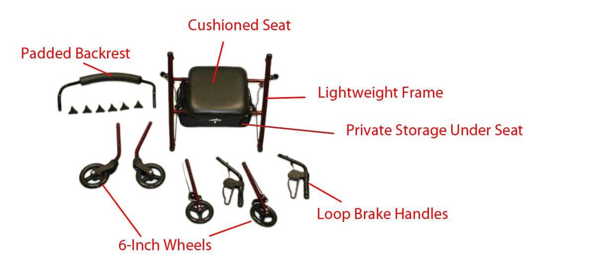 medline ultralight freedom rollator 15d