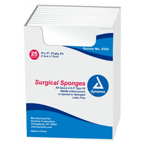 Dynarex 3333 Surgical Gauze Sponges 3 x 3 Inch 12 Ply, Sterile