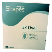 PolyMem Shapes 8023 | #3 Oval Dressing - 2 x 3 Inch Oval Adhesive, 1 x 2 Inch Pad by Ferris