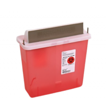 5 Quart Transparent Red SharpSafety Sharps Container w/ Mailbox Style Lid - 85131
