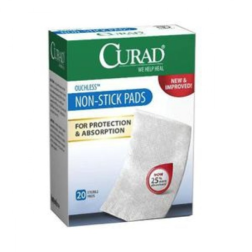 CURAD Non-Stick Pads with Adhesive Tabs, Latex Free - Sterile
