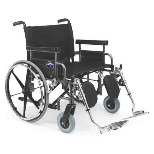 Shuttle Extra-Wide Wheelchair with Removable Desk-Length Arms and Elevating Leg Rests