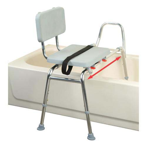 Sliding Transfer Bench with Padded Seat and Back - Long